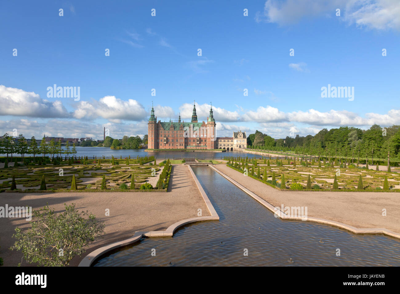 The Frederiksborg Castle in Dutch Renaissance style and the baroque garden and the water Cascade canal in Hillerød - Stock Image