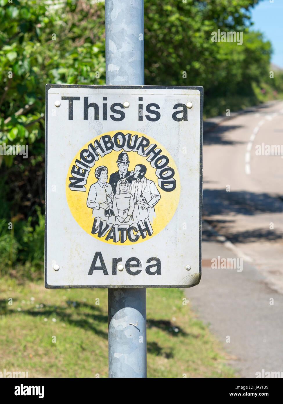 This is a neighbourhood watch area sign, Zelah Cornwall England UK. - Stock Image