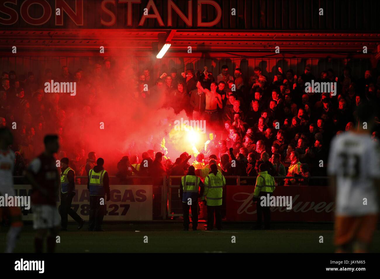 Blackpool Fans Let Off Flares Fleetwood Town V Fleetwood Town V Stock Photo Alamy
