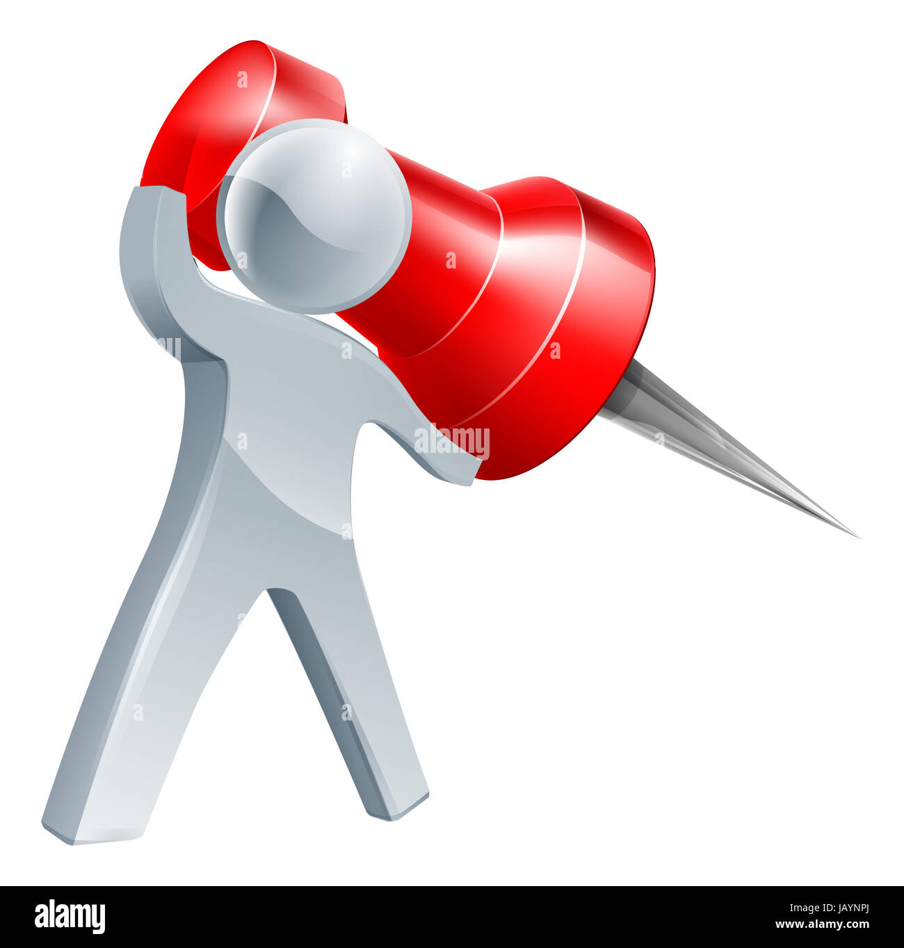 Giant map pin man about to pin something with a giant red map pin - Stock Image