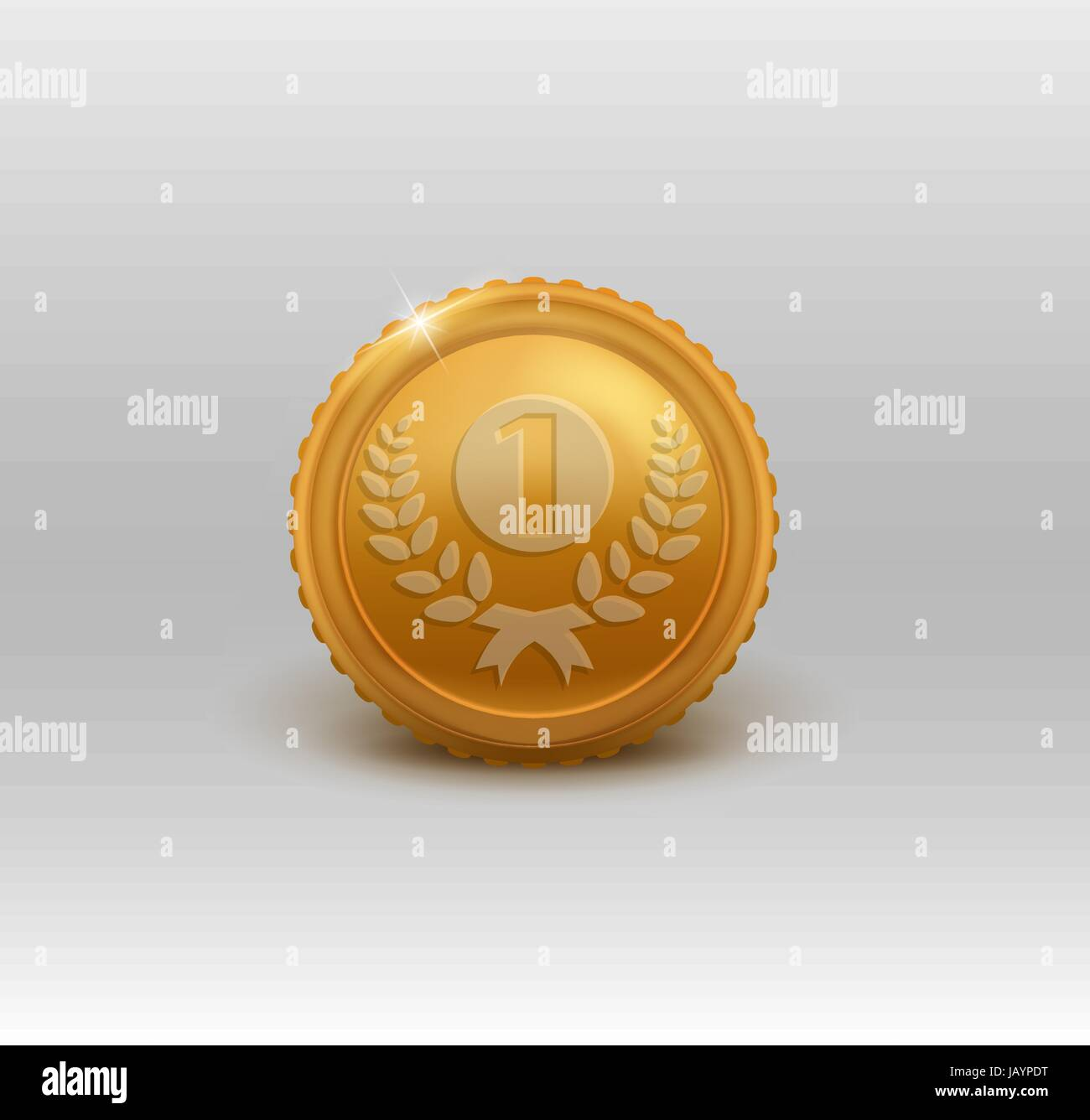 Gold medal for first place. Vector illustration. - Stock Vector