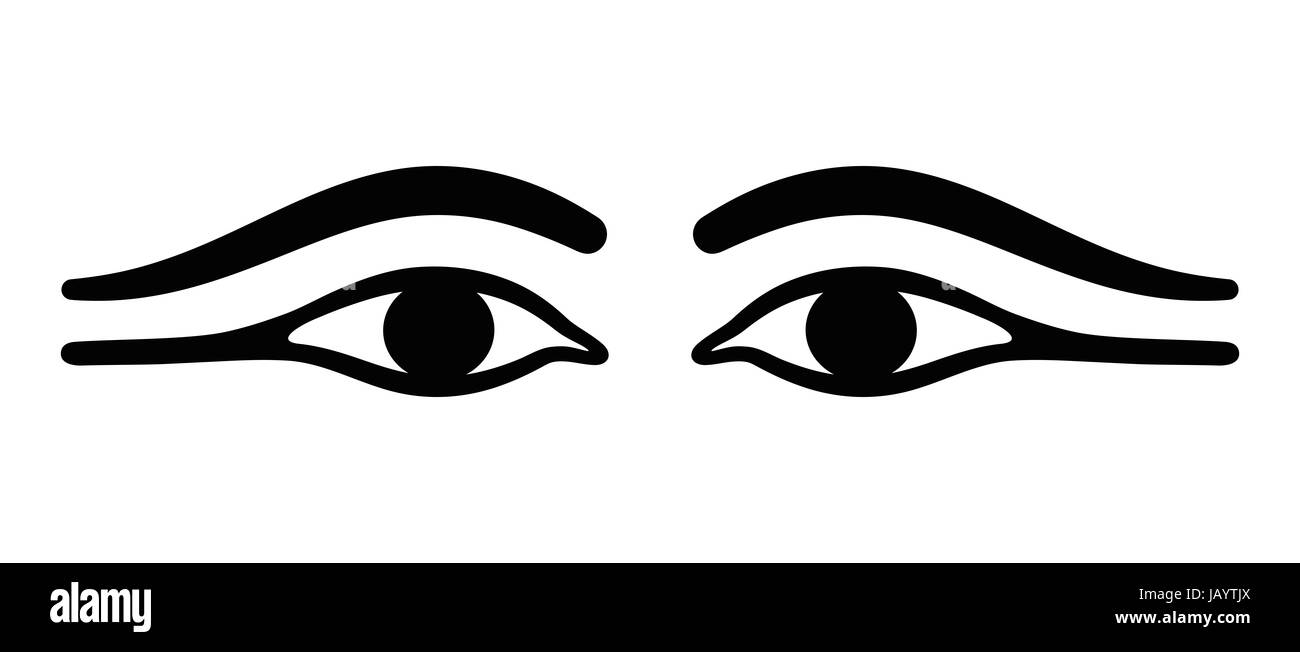 Ancient Egypt eyes with long eye lids. Black eyeliner makeup with almond eye look. Makeup, used by men and women, - Stock Image