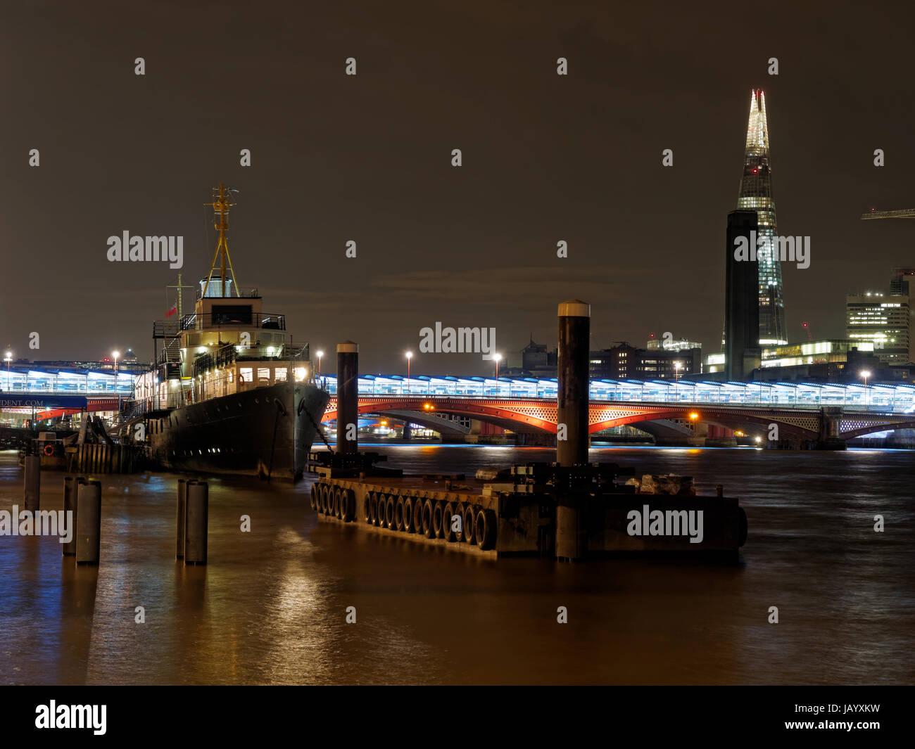 HMS President, London, december 2013 with Blackfriar bridge and the Shardin the background - Stock Image