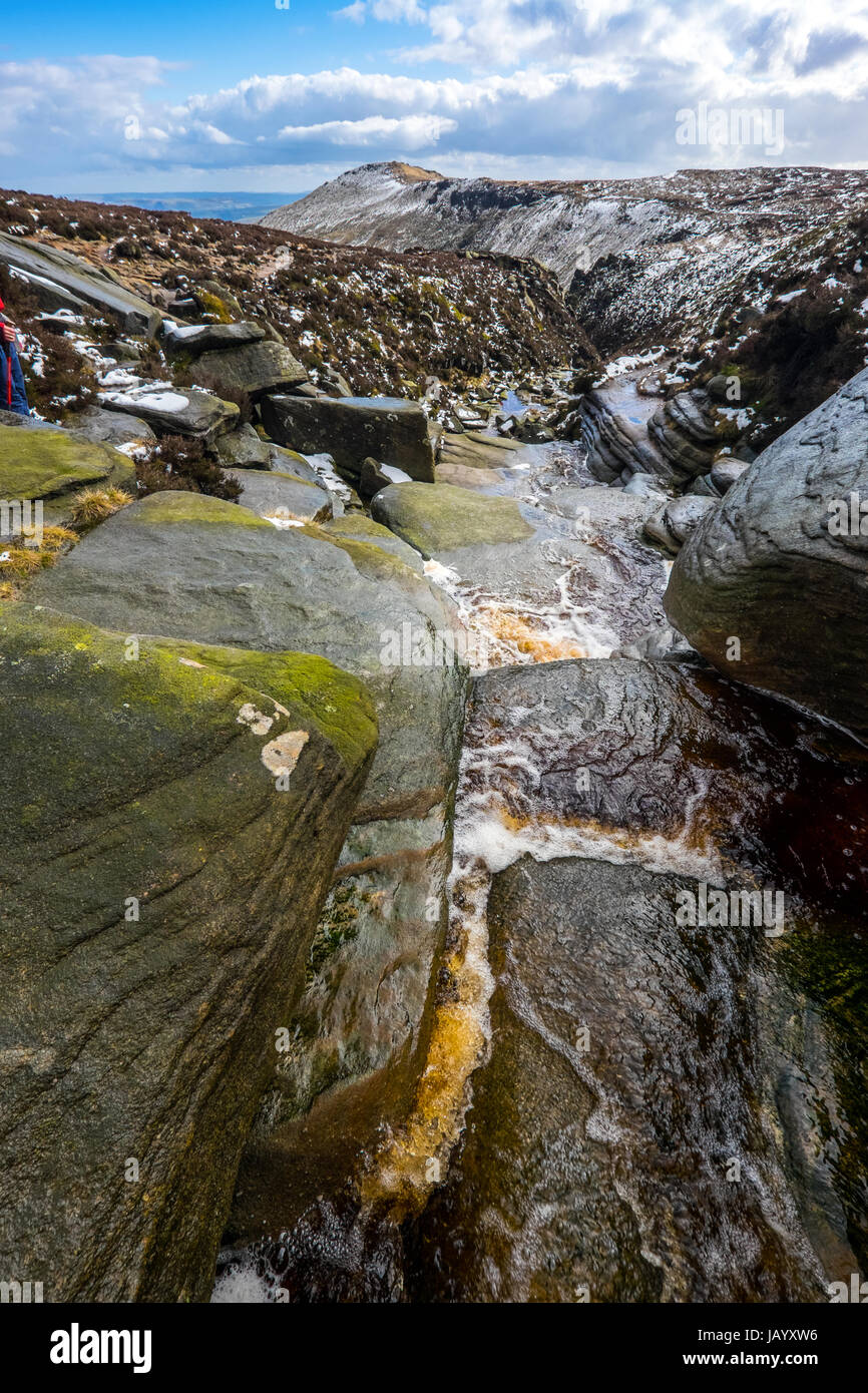 a stream in winter at the top of Grindsbrook on the southern edge of Kinder Scout, Peak District National Park with - Stock Image