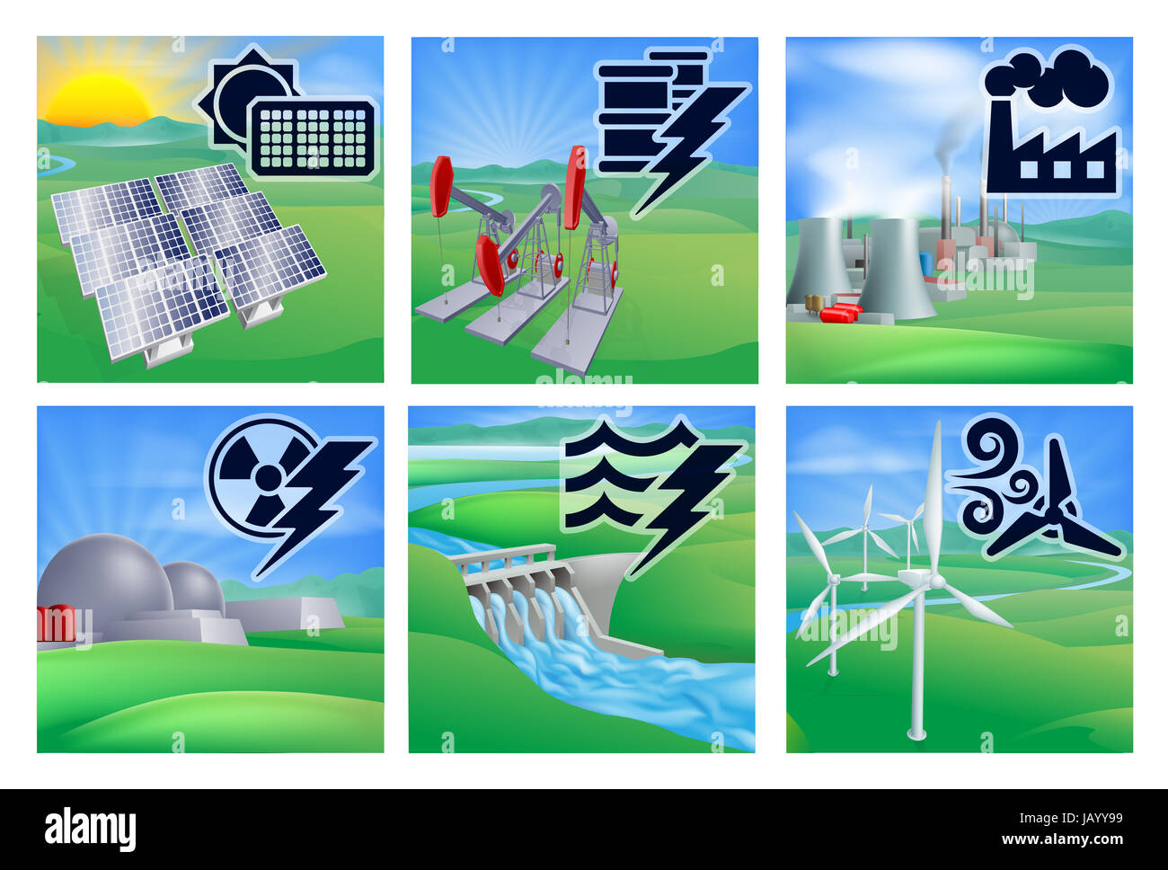 Different types of power or energy generation with icons. Photovoltaic cells solar renewable, oil well pumpjacks, Stock Photo