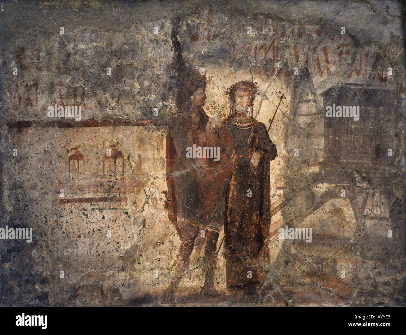 The painting of Liber Pater, recognizable from his castellated crown, the branch in his hands and his shoes, and - Stock Image