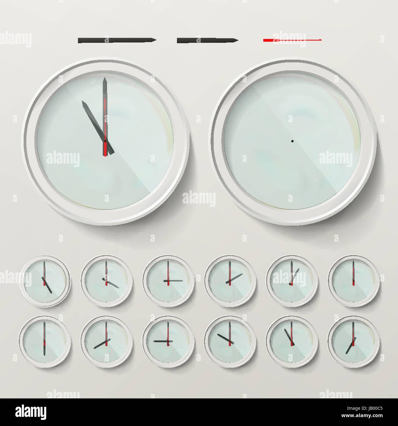 Realistic Wall Clocks Set Vector Illustration. Wall Analog Clock. - Stock Image