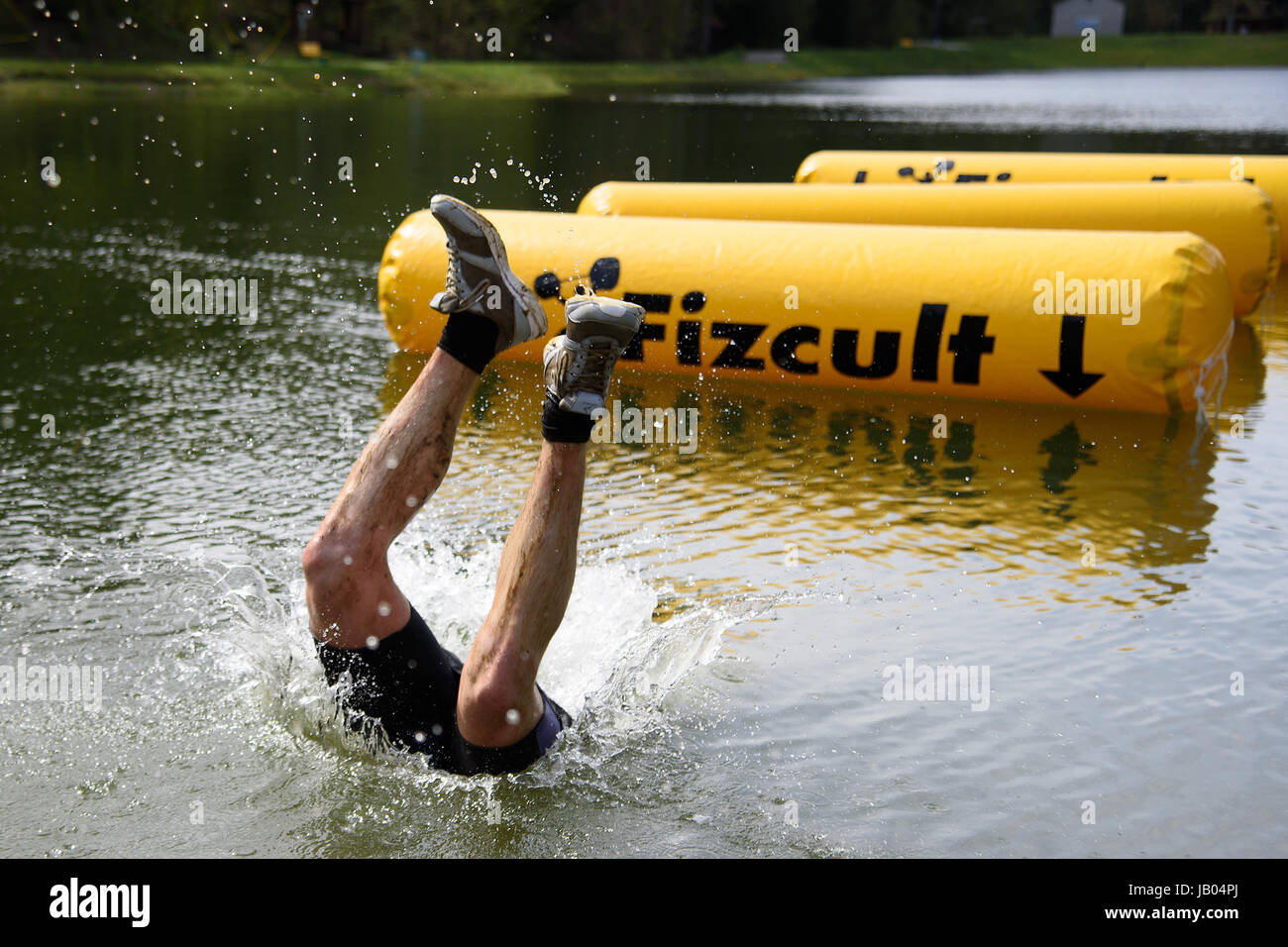 SILICHI/BELARUS – MAY 8, 2017: during Bison Race, an obstacles course race, helt on May 8 in Silichi, Belarus. - Stock Image