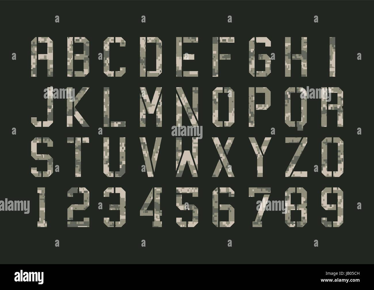 Vector illustration of Military font with pixels camouflage - Stock Image