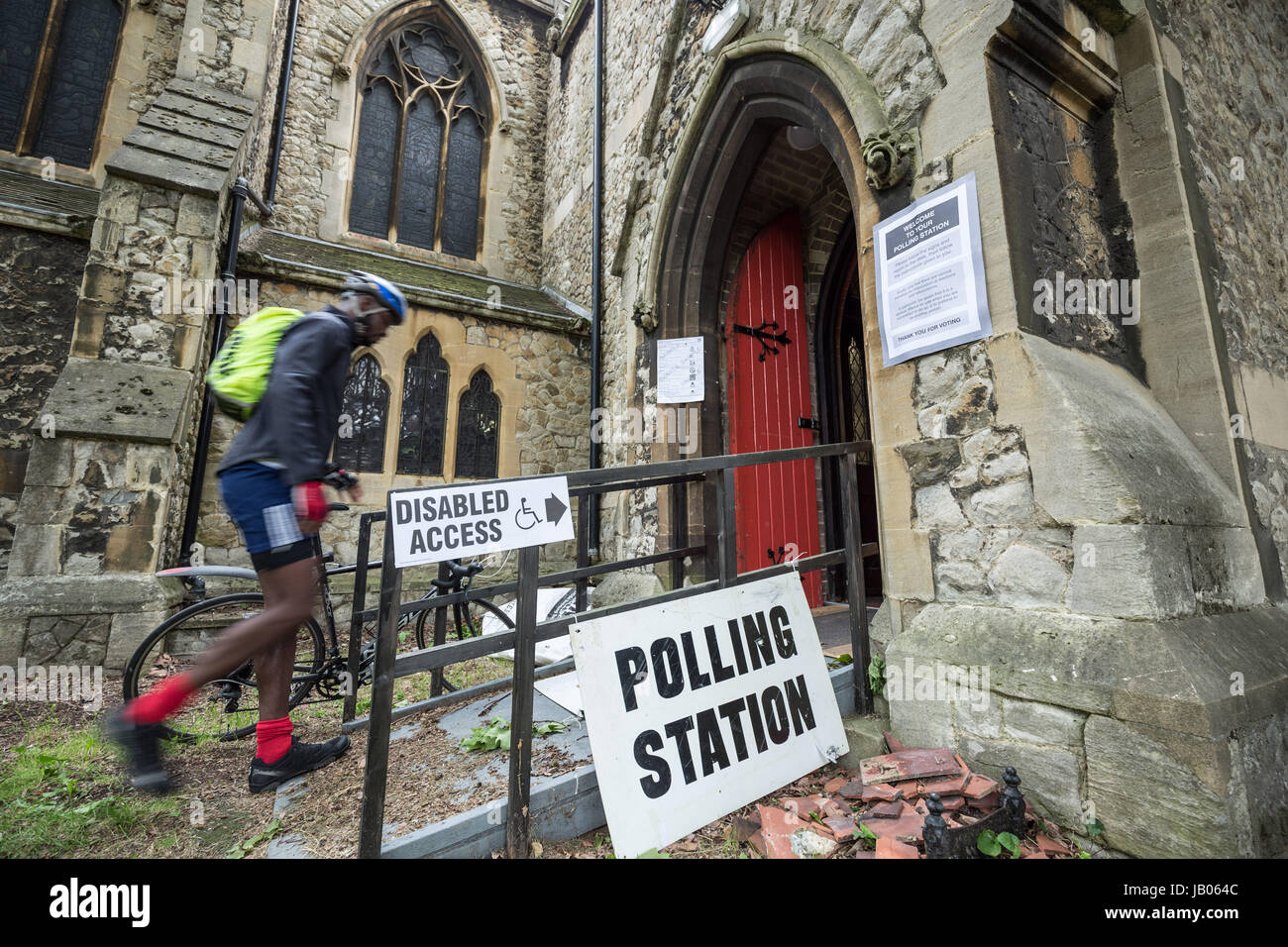 London, UK. 8th June, 2017. Polling Station at St. Peter's Church in Brockley. General Election Polling Day in South - Stock Image