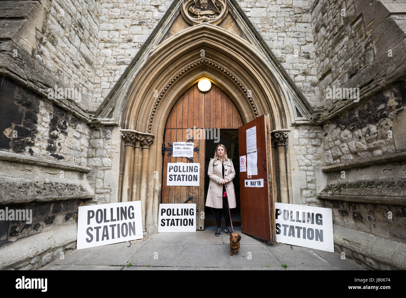 London, UK. 8th June, 2017. George the sausage dog attends the polling station at St. John's Holy Trinity Church - Stock Image