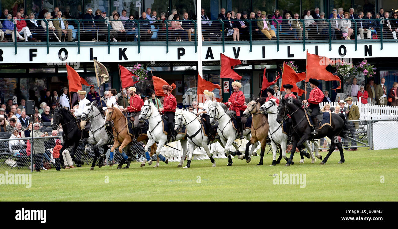 Ardingly Sussex, UK. 8th June, 2017. The Devil's Horsemen display team in action at the South of England Show - Stock Image