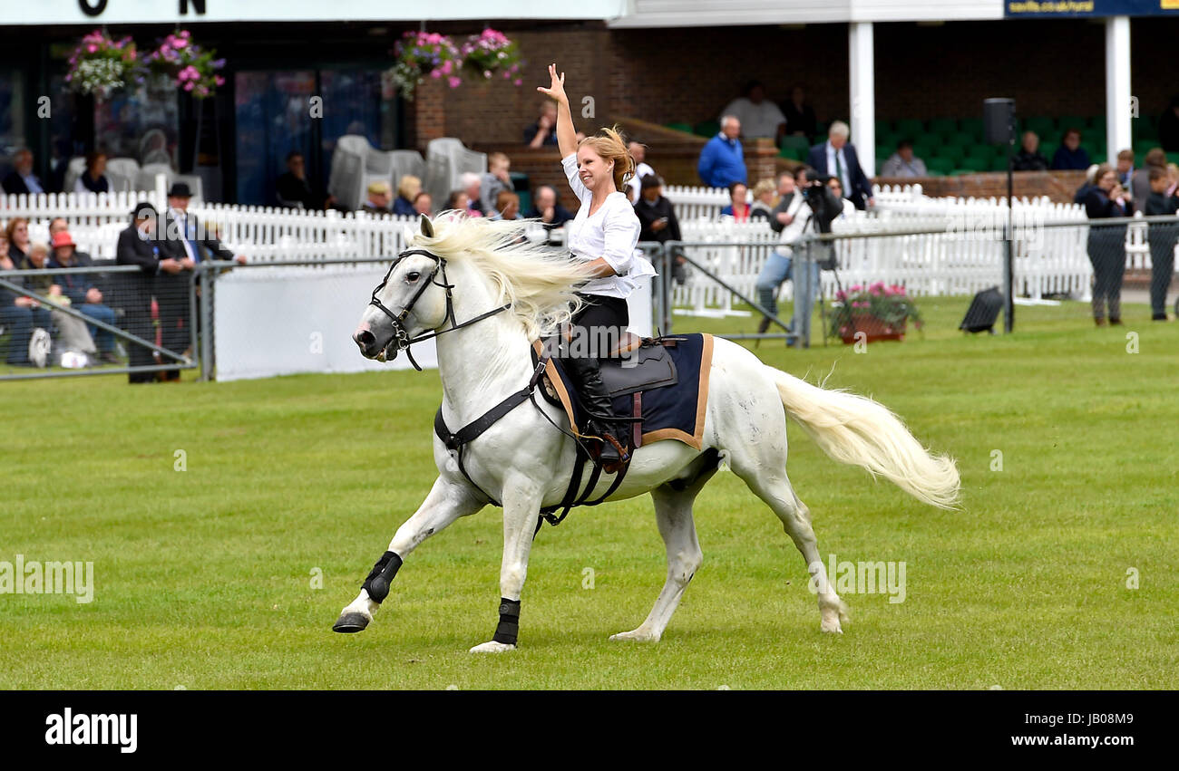 Ardingly Sussex, UK. 8th June, 2017. The Devil's Horsemen display team in action at the South of England Show held Stock Photo