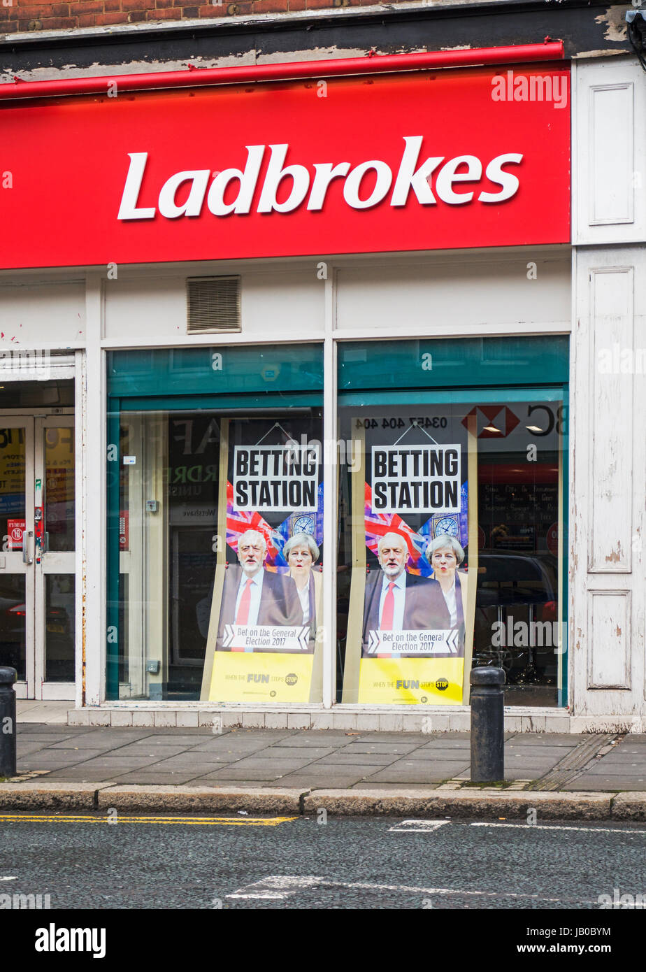 Gosforth, Newcastle upon Tyne, UK. 08th June, 2017. Bookmakers give odds on general election result. Credit: Joseph - Stock Image