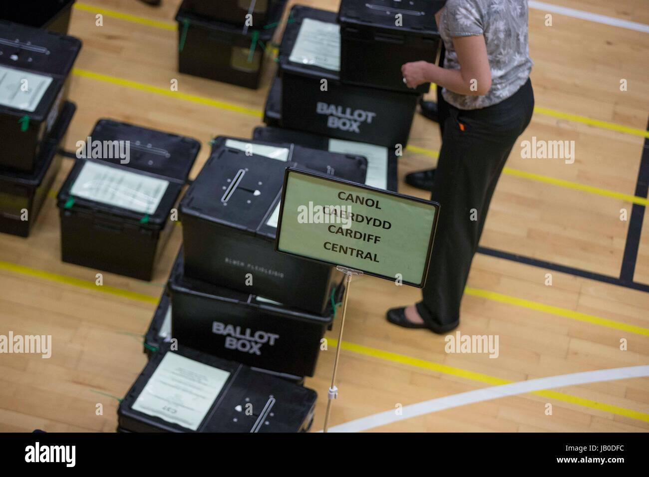 Cardiff, Wales, UK. 08th June, 2017. Cardiff Central Ballot Boxes as general election 2017 vote counting begins - Stock Image