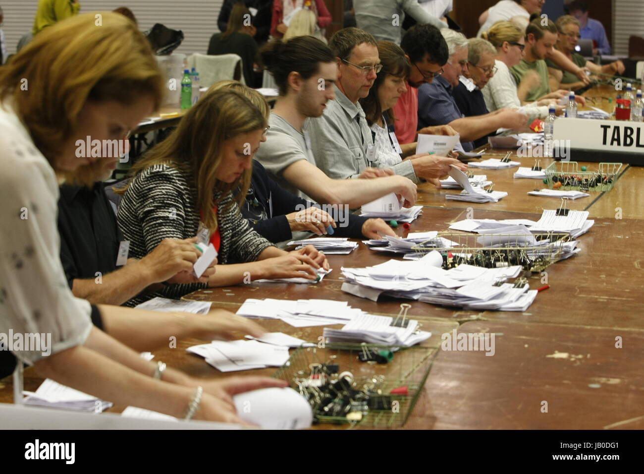 General Election vote counting at Epsom and Ewell costituency, Surrey, UK  2017 - Stock Image