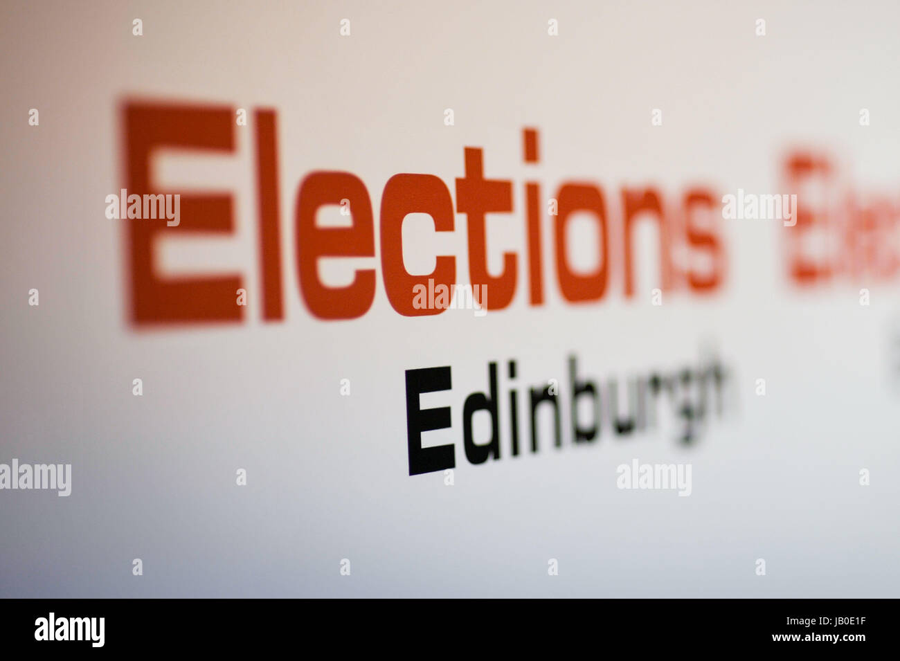 Edinburgh, UK. 08th June, 2017. Election count underway at Meadowbank. Credit: Steven Scott Taylor/Alamy Live News - Stock Image