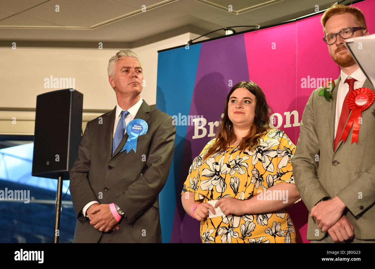 Brighton, UK. 9th June, 2017. Defeated Conservative candidate in the Brighton Kemptown constituency Simon Kirby - Stock Image