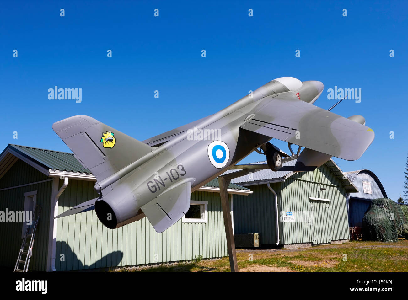 Folland Gnat Mk.1 on display, Lappeenranta Finland - Stock Image