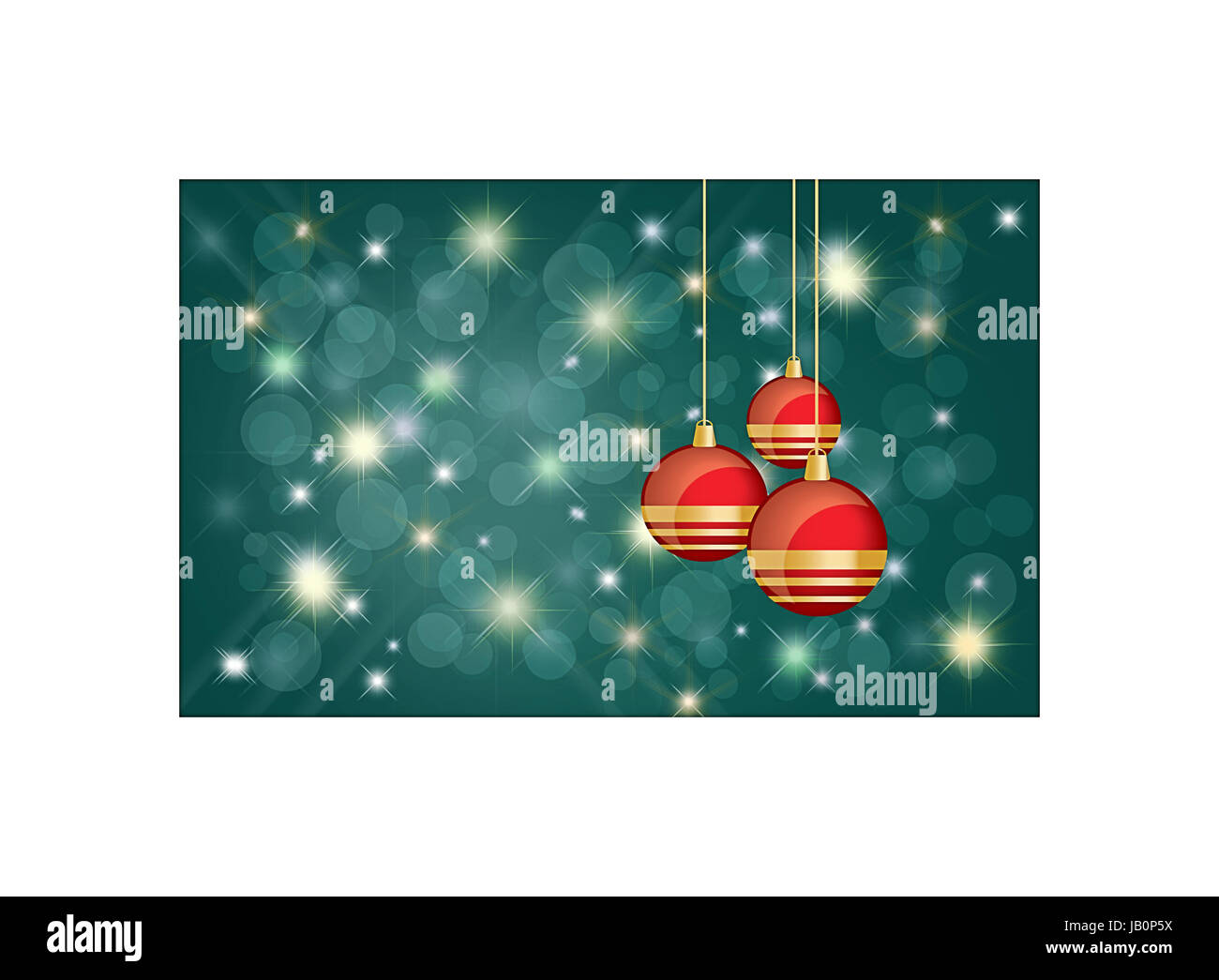 Greetings christmas card background with copyspace for message with shiny red and gold  bauble balls and bright - Stock Image