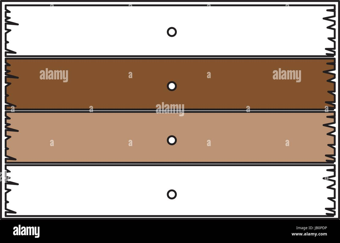 color sections silhouette of wooden board with horizontal planks with thick contour - Stock Image
