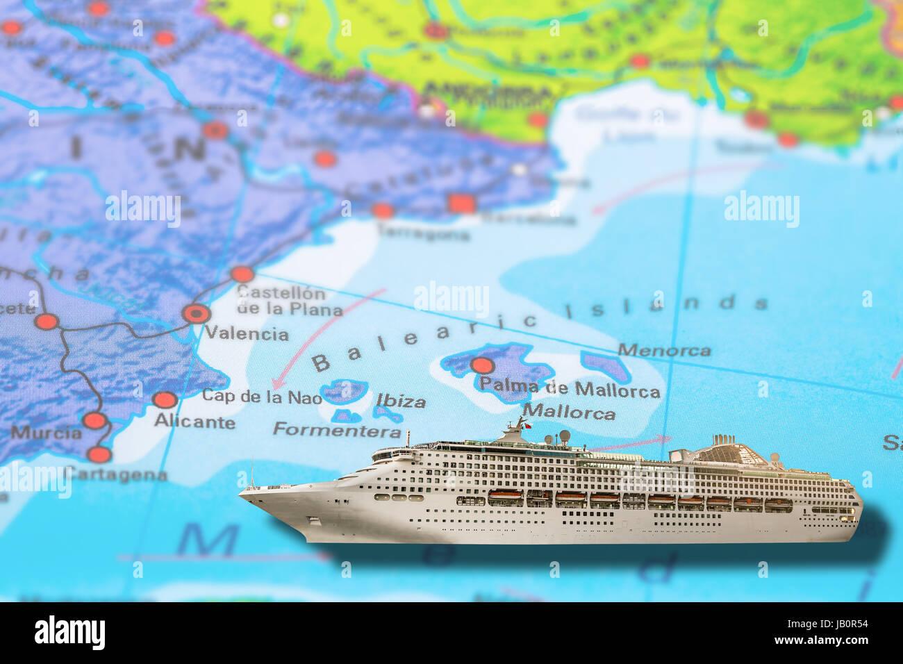 Ibiza Formentera Valencia in Spain cruise ship travel on colorful