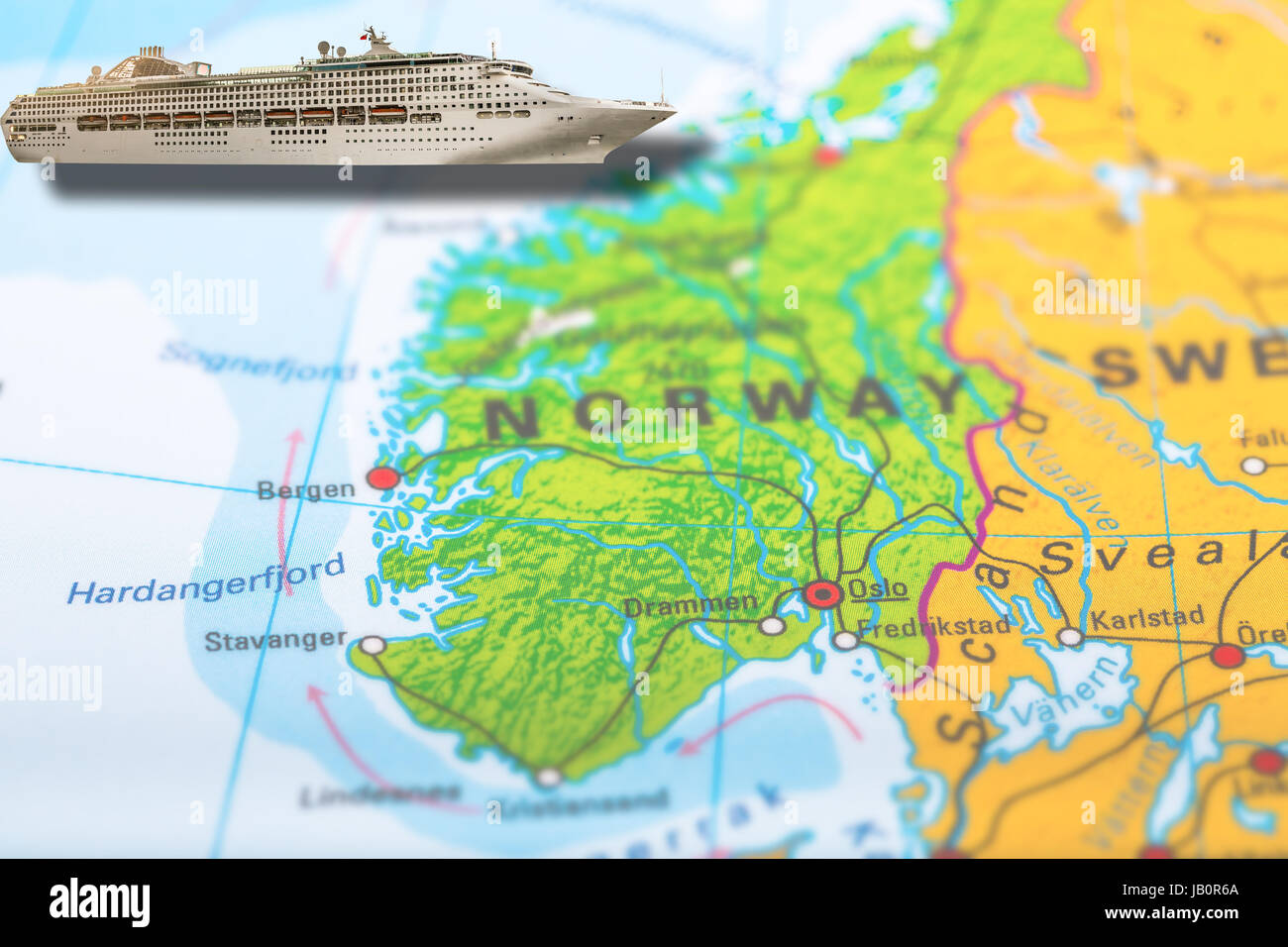 North Sea Europe Map.Cruise Ship Travel On Colorful Political Map Of Europe To Bergen And