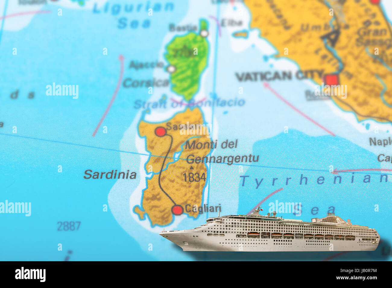 Cruise ship travel on colorful political map of Europe to ...