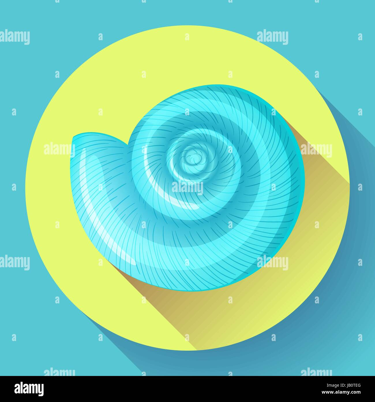 blue sea shell flat vector logo Seafood flat icon. - Stock Vector