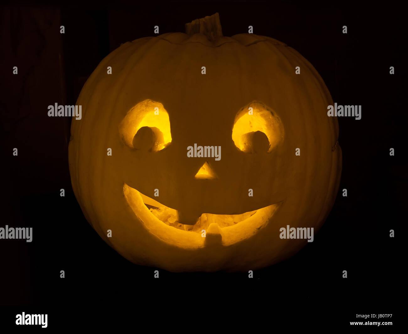 Cute Jack O Lantern Halloween Pumpkin With Candle Light Stock Photo Alamy