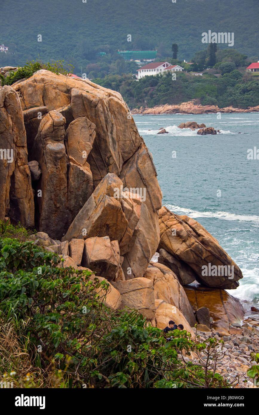 Shek-O Coastline and South China Sea, Hong Kong - Stock Image