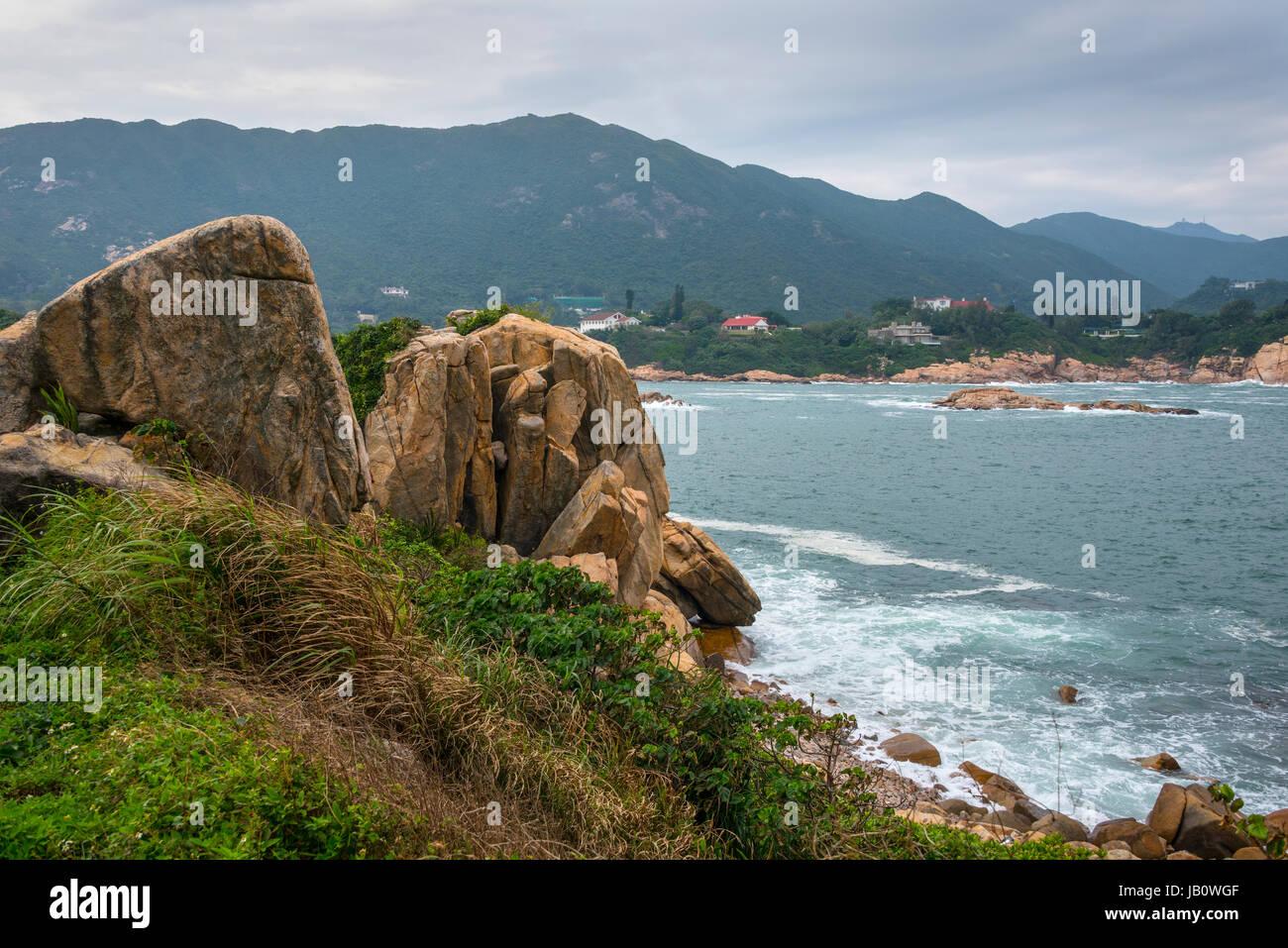 Shek-O Coastline and South China Sea, Hong Kong Stock Photo