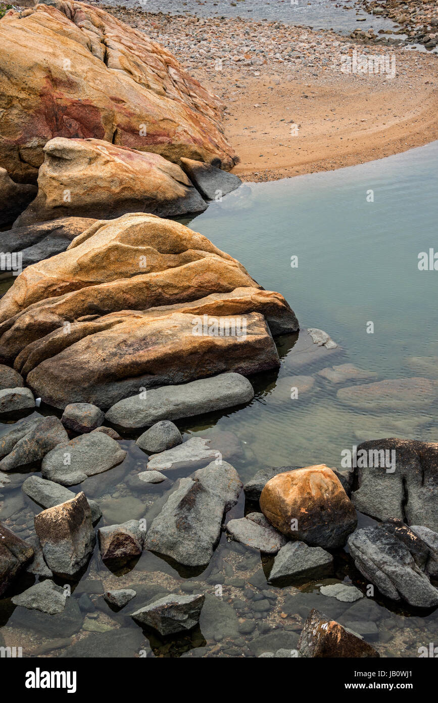 Rocky Coastline, Shek-O, South China Sea, Hong Kong - Stock Image