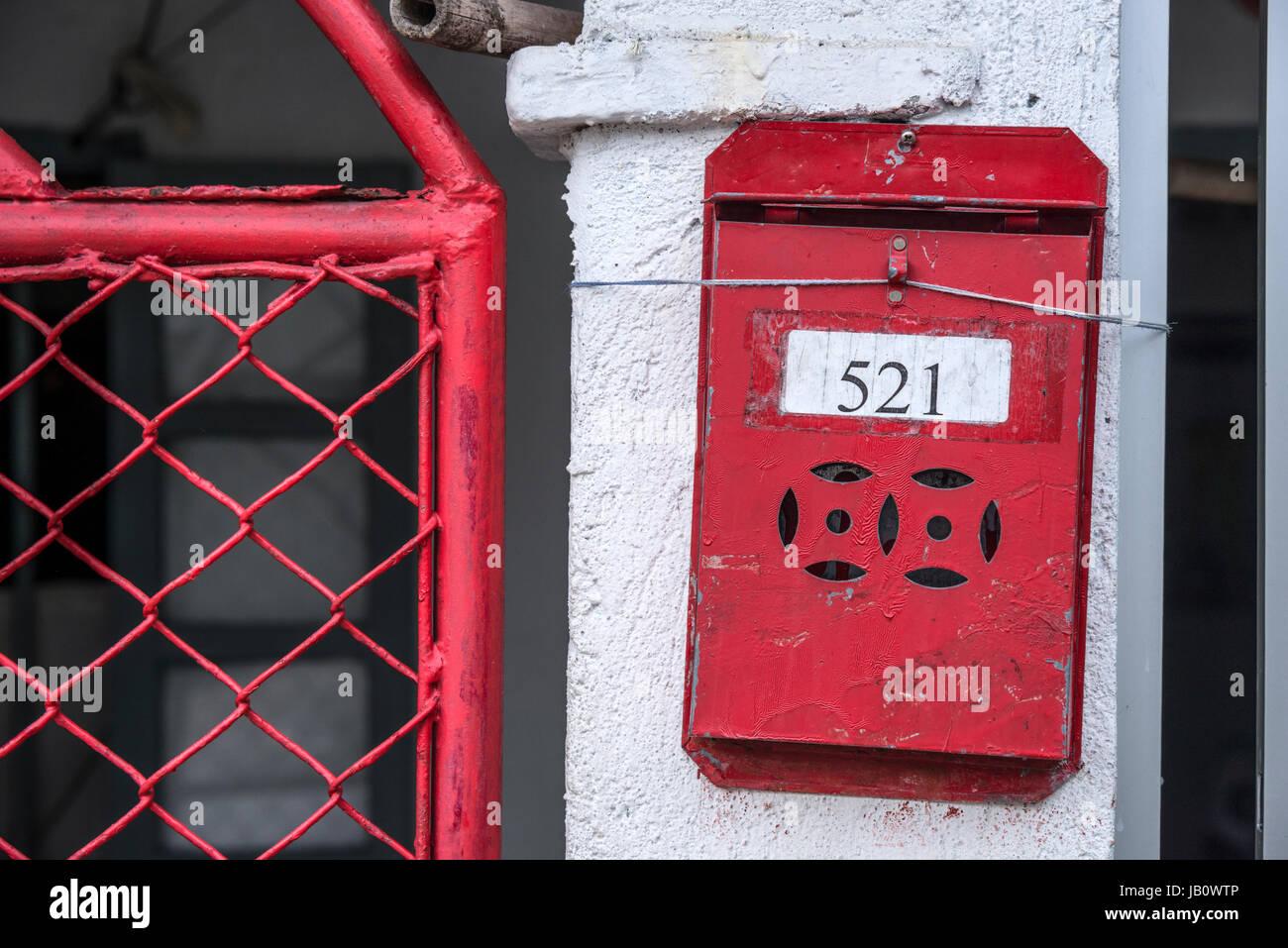 Resident's Letter Box outside Gate, Shek O Village, Hong Kong - Stock Image