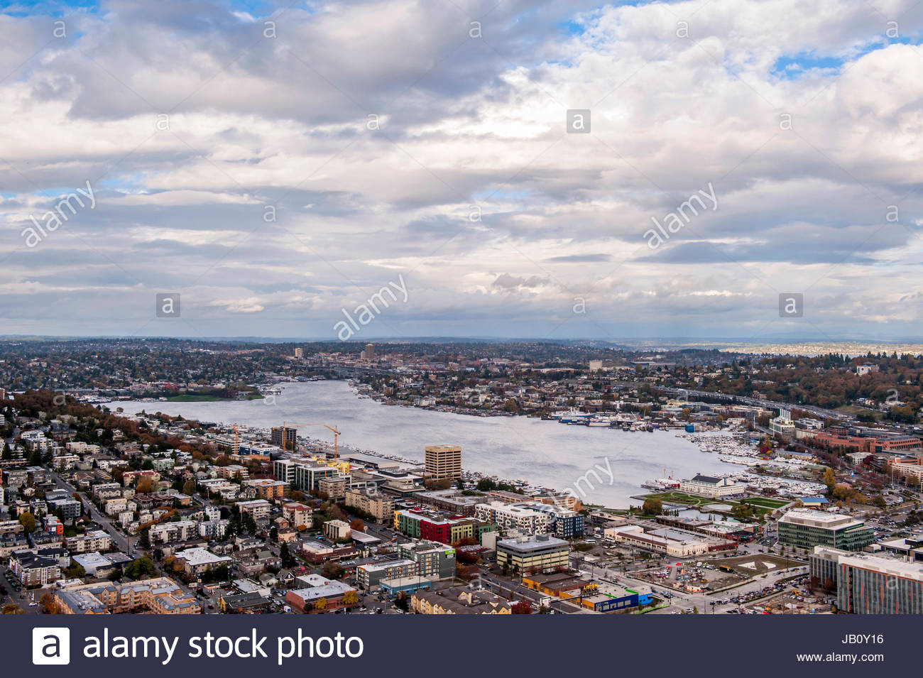 Lake Union seen from the Space Needle. - Stock Image