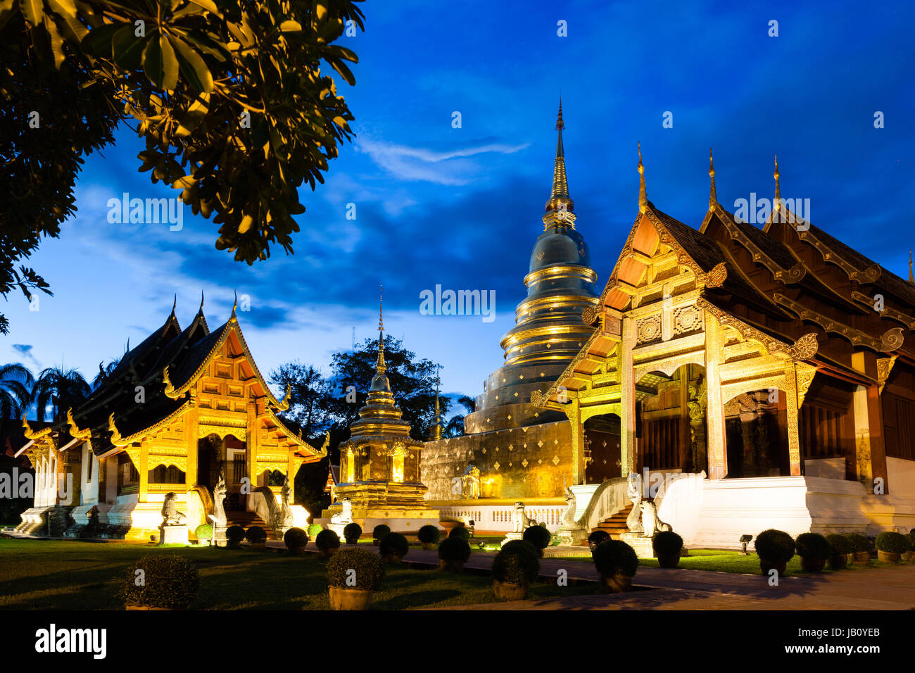 Wat Phra Singh Woramahaviharn. Buddhist temple in Chiang Mai, Thailand. - Stock Image