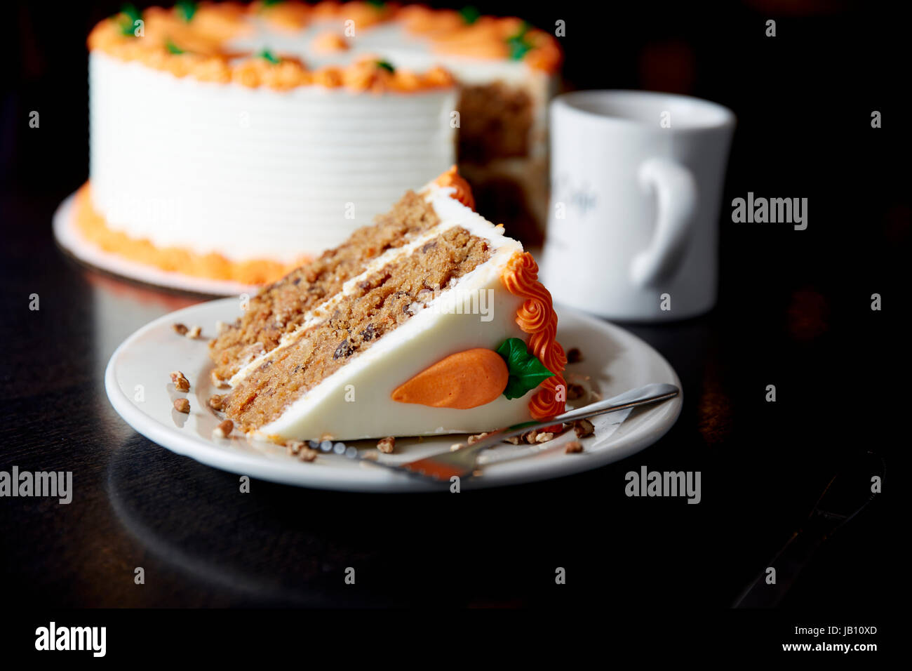 Carrot Cake, Cake, Cream Cheese Frosting, Dessert, Coffee - Stock Image