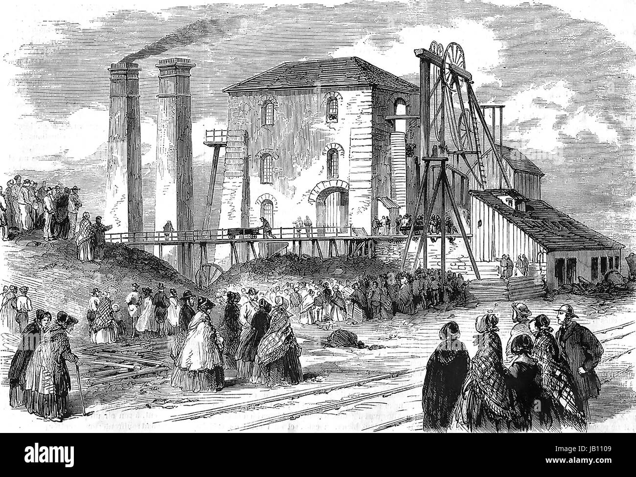 HARTLEY COLLIERY DISASTER 16 January 1862. Crowds outside the Northumberland coal mine after a pumping engine broke - Stock Image