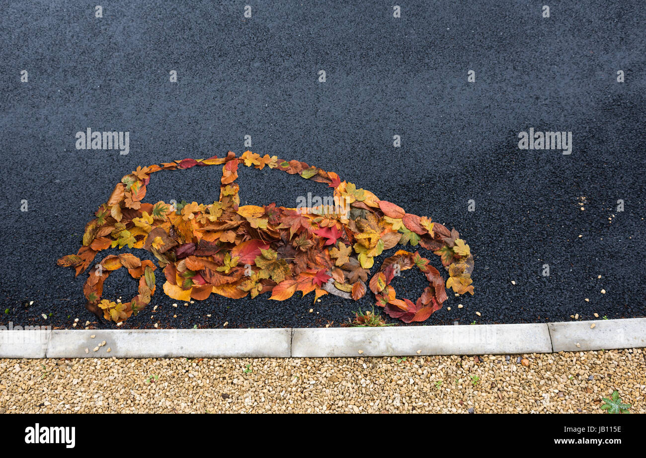 car symbol made from autumn leaves Stock Photo