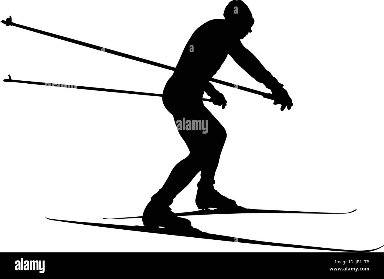 Male Athlete Skier In Cross Country Skiing Vector Illustration