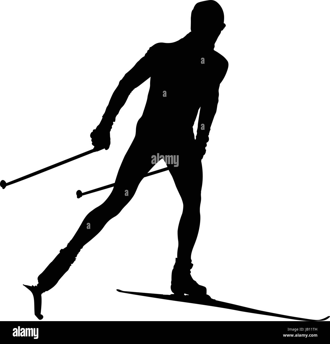 black silhouette male athlete cross country skier - Stock Vector