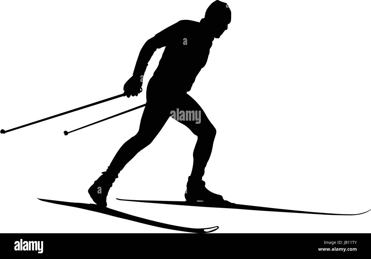 male athlete cross country skier black silhouette - Stock Vector
