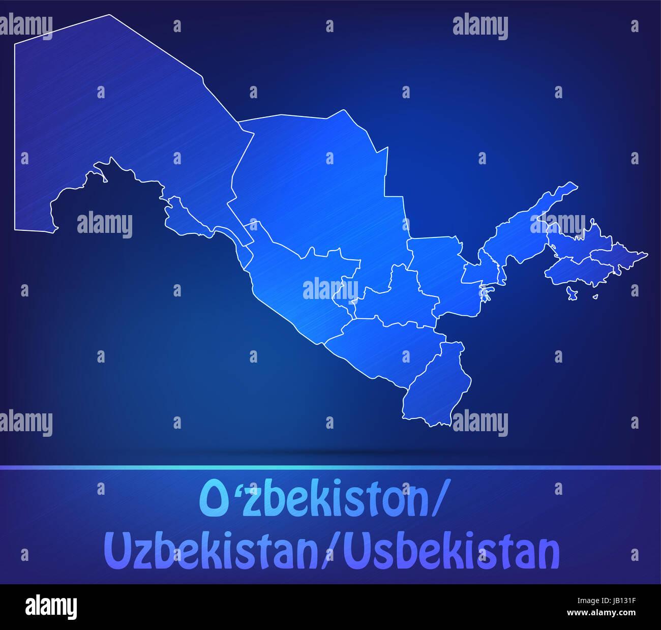 Usbekistan in Asien als Grenzkarte mit Grenzen als Scribble. Durch die ansprechende Gestaltung fügt sich die - Stock Image