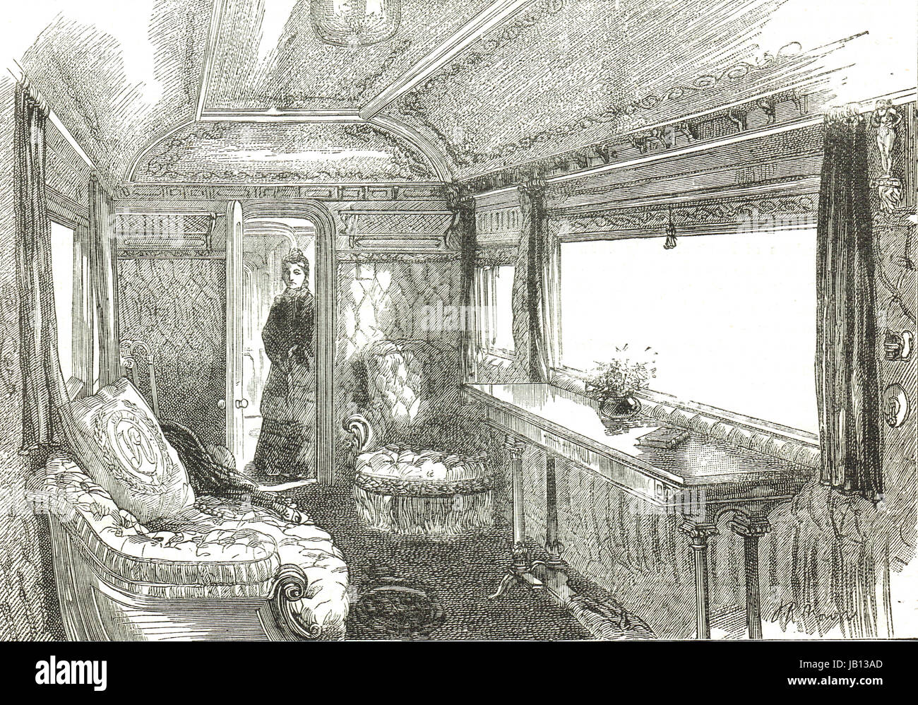 Queen Victoria's train saloon carriage - Stock Image