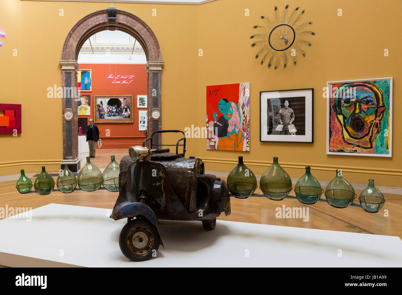 London, UK. 8 June 2017. Petrol Cargo by Romuald Hazoume. Press preview of the 249th Summer Exhibition of the Royal Stock Photo