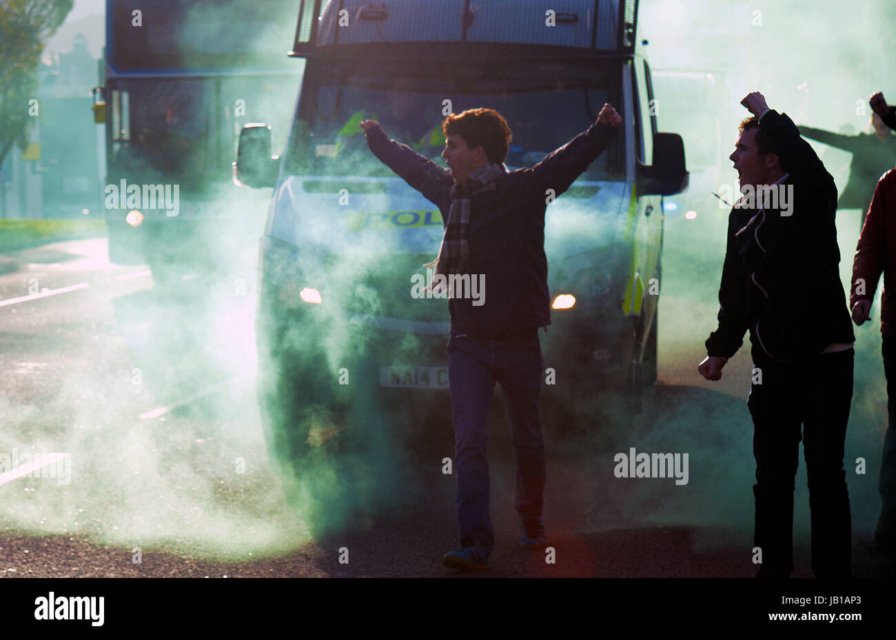 Plymouth Argyle football fans, Devon,UK Stock Photo
