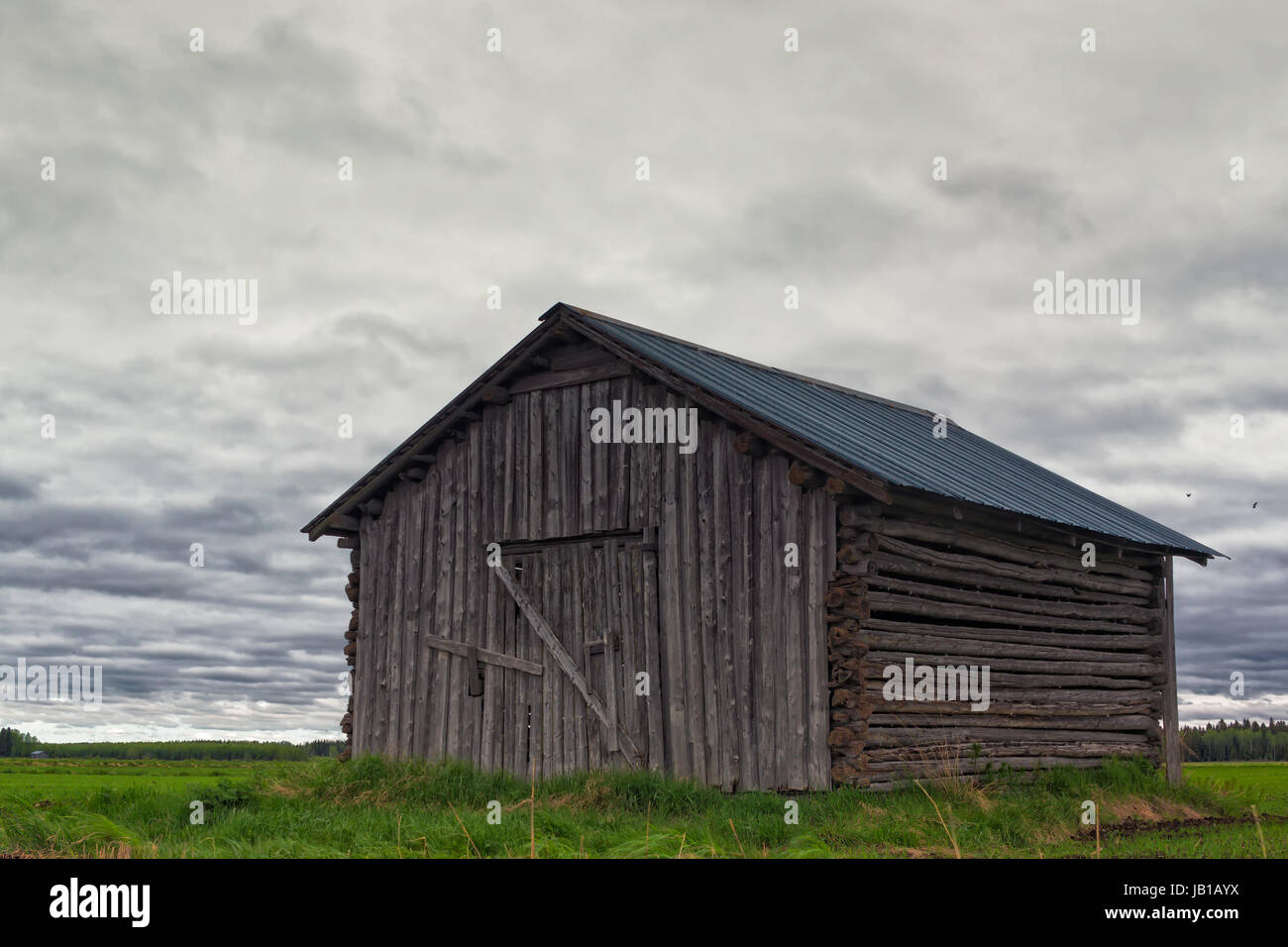 An old barn house locked up in the middle of the fields of the Northern Finland. The clouds of the summer are gathering - Stock Image