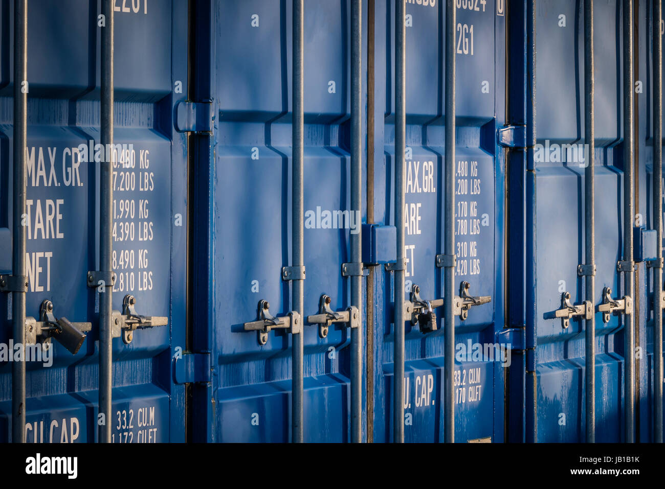 Shipping containers at a self storage unit Stock Photo 144474783