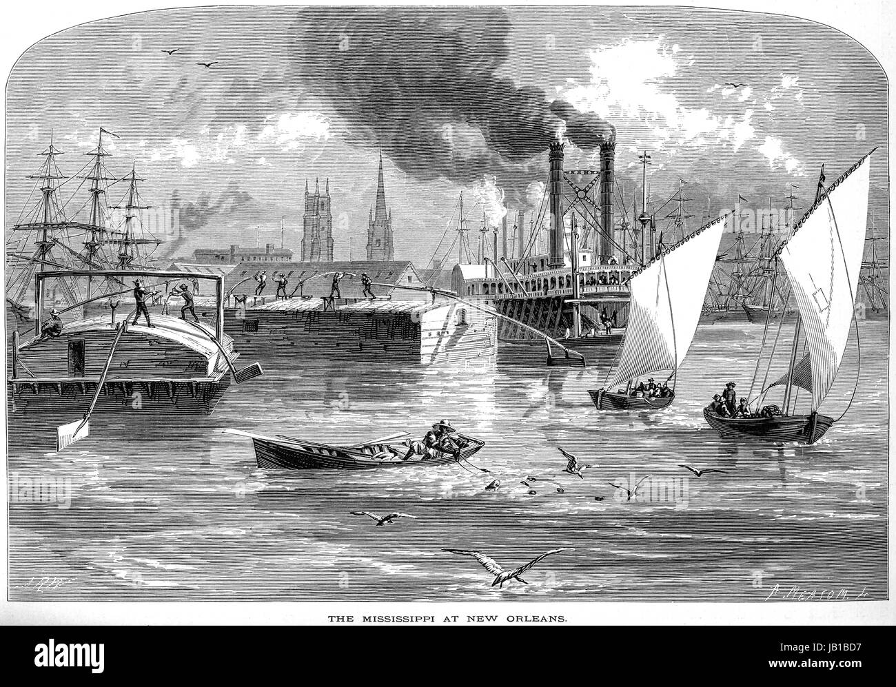 An engraving of The Mississippi at New Orleans scanned at high resolution from a book printed in 1872.  Believed Stock Photo