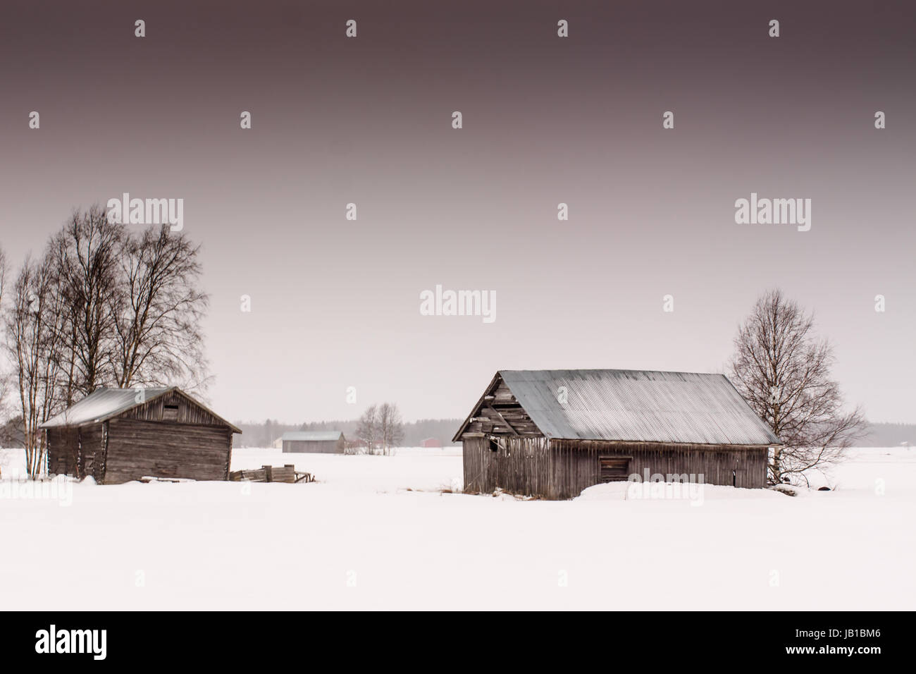 Very sad sight at the rural Finland. Abandoned barn houses wait for somebody to come and fill them with crop. It - Stock Image